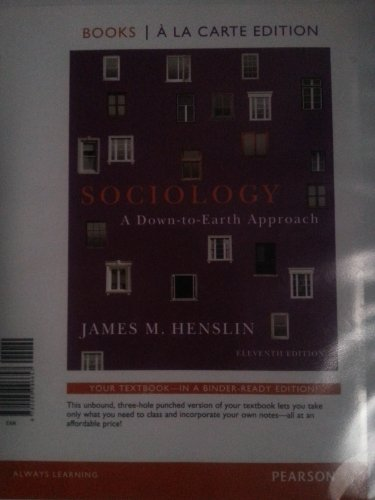 Sociology A Down-to-Earth Approach 11th 2012 edition cover