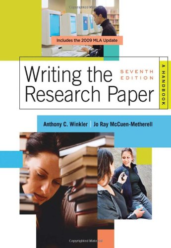 Writing the Research Paper 2009 A Handbook 7th 2008 (Revised) 9780495799658 Front Cover