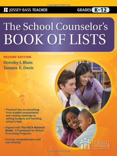 School Counselor's Book of Lists  2nd 2010 edition cover