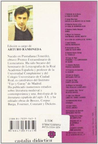 ANTOLOGIA POETICA DE LA GENERA 1st edition cover