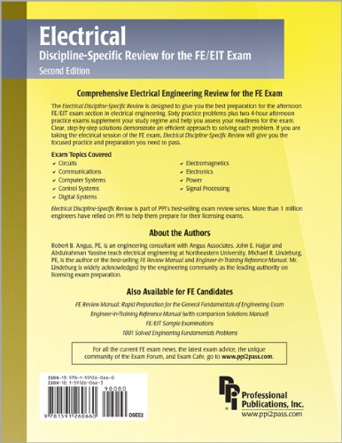 Electrical Discipline-Specific Review for the FE/EIT Exam  2nd 2006 edition cover