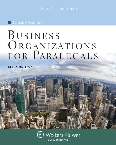 Business Organizations for Paralegals  6th 2013 (Revised) edition cover