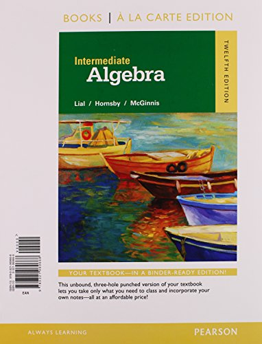 Intermediate Algebra: Books a La Carte Edition  2015 edition cover