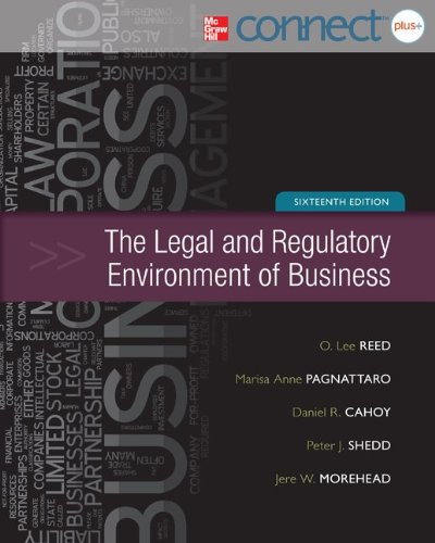 Legal and Regulatory Environment of Business with Connect Plus  16th 2013 edition cover