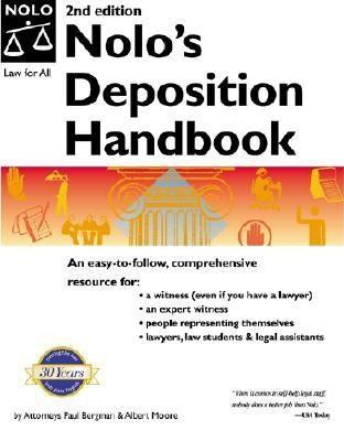 Nolo's Deposition Handbook  3rd 2001 9780873377669 Front Cover