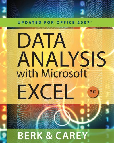 Data Analysis with Microsoft� Excel� 2007  3rd 2010 (Revised) 9780538494670 Front Cover