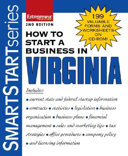 How to Start a Business in Virginia  2nd 2007 edition cover