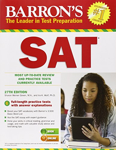 Barron's SAT Most Up-To Date Review and Practice Tests Currently Available 27th 2014 (Revised) edition cover