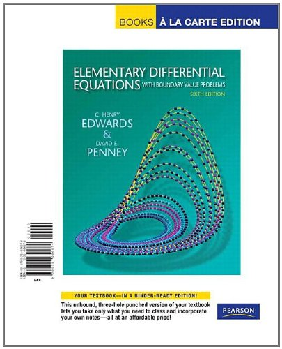 Elementary Differential Equations with Boundary Value Problems, Books a la Carte Edition  6th 2008 edition cover
