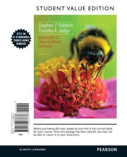 Essentials of Organizational Behavior: Student Value Edition 12th 2013 edition cover