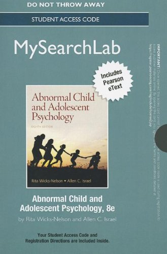 Abnormal Child and Adolescent Psychology  8th 2013 edition cover