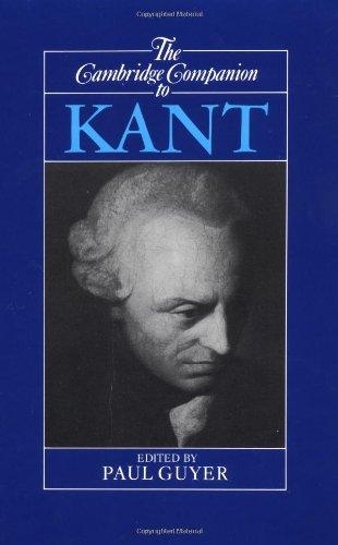Cambridge Companion to Kant   1992 edition cover