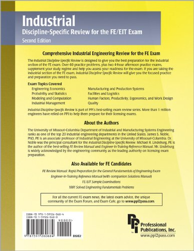 Industrial Discipline-Specific Review for the FE/EIT Exam  2nd 2007 edition cover