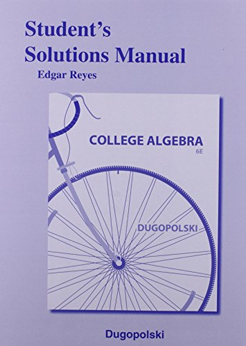 Student's Solutions Manual for College Algebra  6th 2015 edition cover