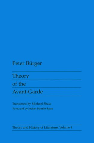Theory of the Avant-Garde   1984 edition cover