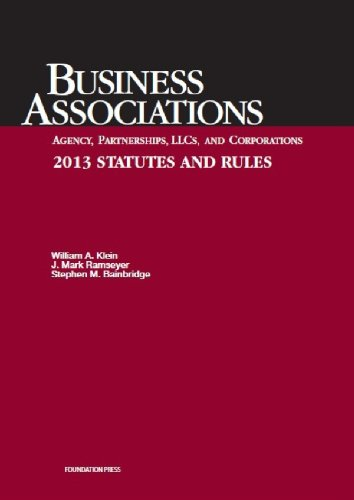 Business Associations Agency, Partnerships, Llcs, and Corporations 2013 Statutes and Rules:   2013 edition cover