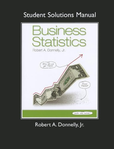 Student Solutions Manual for Business Statistics   2013 9780132135689 Front Cover