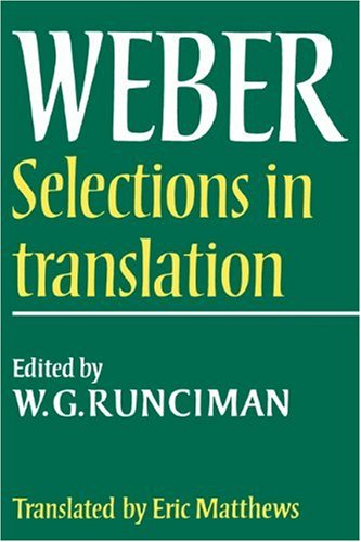 Max Weber Selections in Translation  1978 edition cover