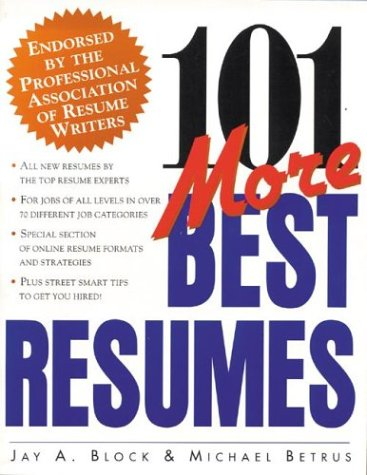 101 More Best Resumes   1999 9780070329690 Front Cover
