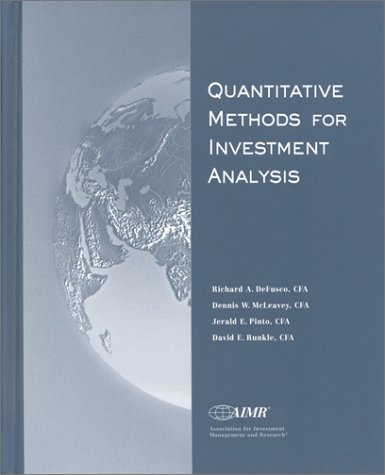 Quantitative Methods for Investment Analysis 1st 2001 edition cover