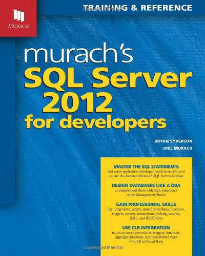 Murach's SQL Server 2012 for Developers   2012 edition cover