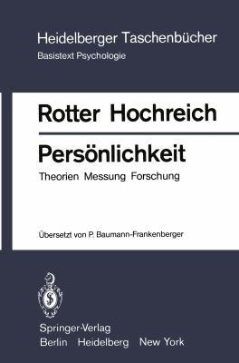 Persönlichkeit: Theorien Messung Forschung  1979 edition cover
