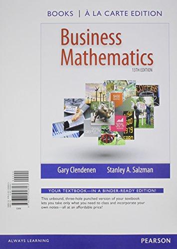 Business Mathematics: Books a La Carte Edition  2014 edition cover