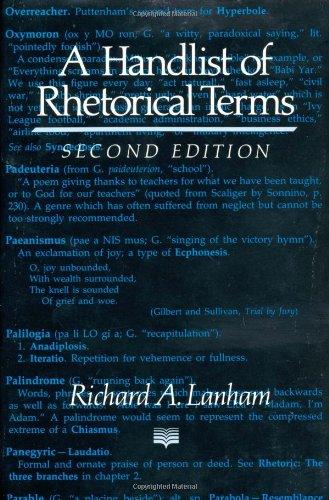 Handlist of Rhetorical Terms  2nd 1991 edition cover
