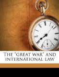 Great War and International Law N/A edition cover