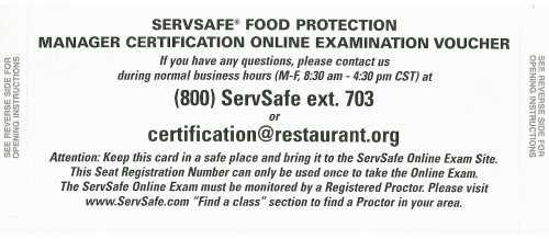 Servsafe Food Protection Manager Certification Online Examination Voucher  6th 2009 edition cover