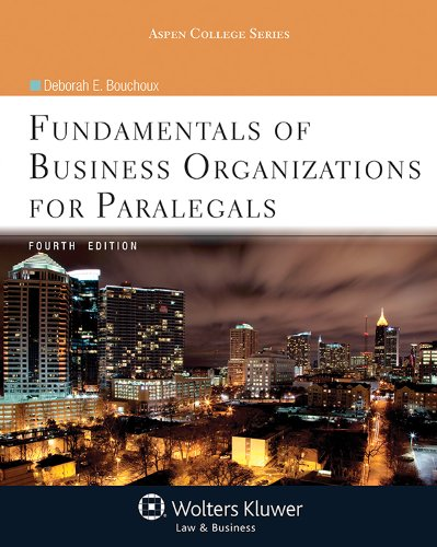 Fundamentals of Business Organizations for Paralegals  4th 2013 (Revised) edition cover