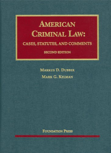 American Criminal Law Cases, Statutes and Comments 2nd 2009 (Revised) edition cover