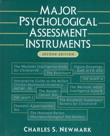 Major Psychological Assessment Instruments 2nd 1996 (Revised) edition cover