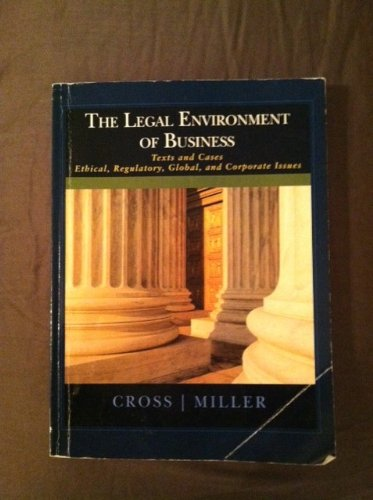 LEGAL ENVIRONMENT OF BUS.>CUST N/A 9781133446699 Front Cover