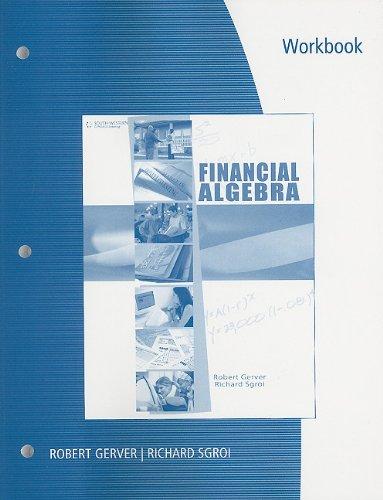 Financial Algebra   2011 (Workbook) 9780538449700 Front Cover