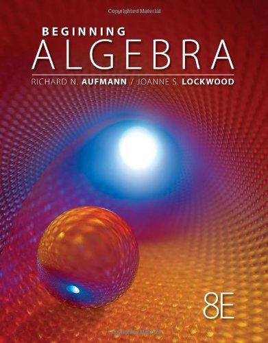 Beginning Algebra  8th 2013 edition cover