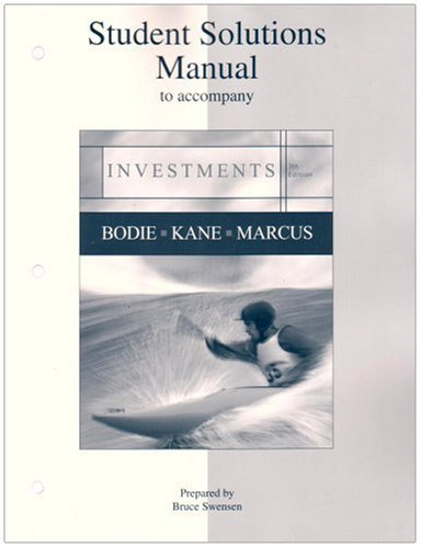 Investments Student Solutions Manual  7th 2008 9780073269702 Front Cover