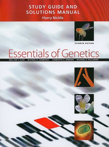 Study Guide and Solutions Manual for Essentials of Genetics  7th 2010 edition cover