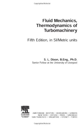 Fluid Mechanics and Thermodynamics of Turbomachinery  5th 2005 (Revised) 9780750678704 Front Cover