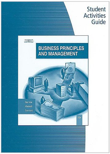 Business Principles and Management  12th 2008 (Activity Book) 9780538444705 Front Cover