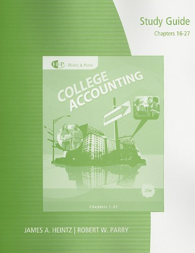 College Accounting, Chapters 16-27  20th 2011 (Guide (Pupil's)) 9780538750707 Front Cover