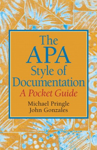APA Style of Documentation A Pocket Guide  2010 9780136049708 Front Cover