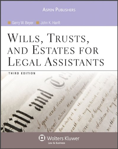 Wills Trusts and Estates for Legal Assistants  3rd 2009 (Revised) 9780735578708 Front Cover