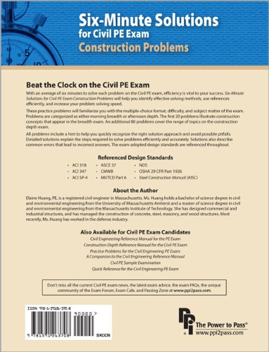 Six-Minute Solutions for Civil PE Exam Construction Problems   2012 edition cover