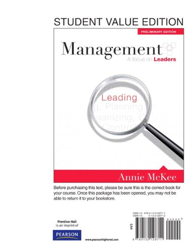 Management A Focus on Leader, Student Value Edition  2011 9780132128711 Front Cover