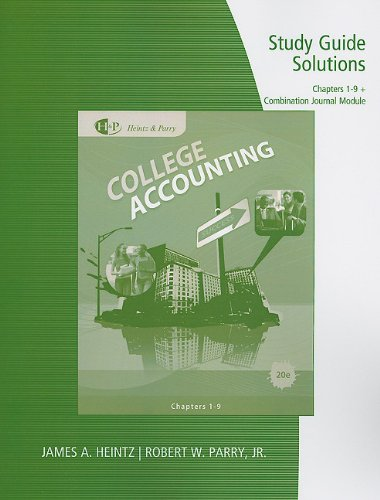 College Accounting, Chapters 1-9  20th 2011 (Student Manual, Study Guide, etc.) 9780538750714 Front Cover