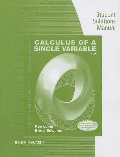 Student Solutions Manual for Larson/Edwards' Calculus of a Single Variable, 10th  10th 2014 edition cover