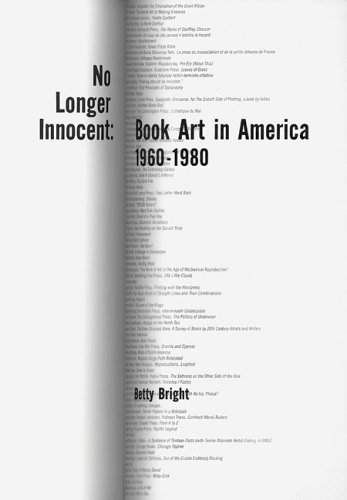 No Longer Innocent Book Art in America: 1960-1980  2005 edition cover