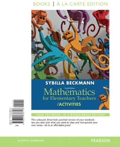 Mathematics for Elementary Teachers With Activities: Books a La Carte Edition  2012 edition cover