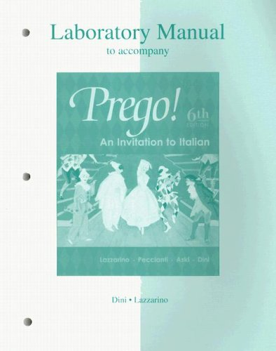 Laboratory Manual to Accompany Prego! an Invitation to Italian  6th 2004 (Revised) edition cover